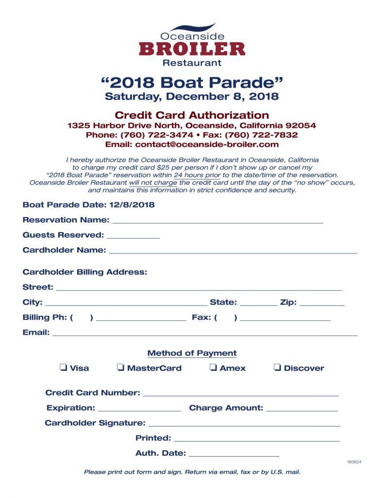 Boat Parade Credit Card Form
